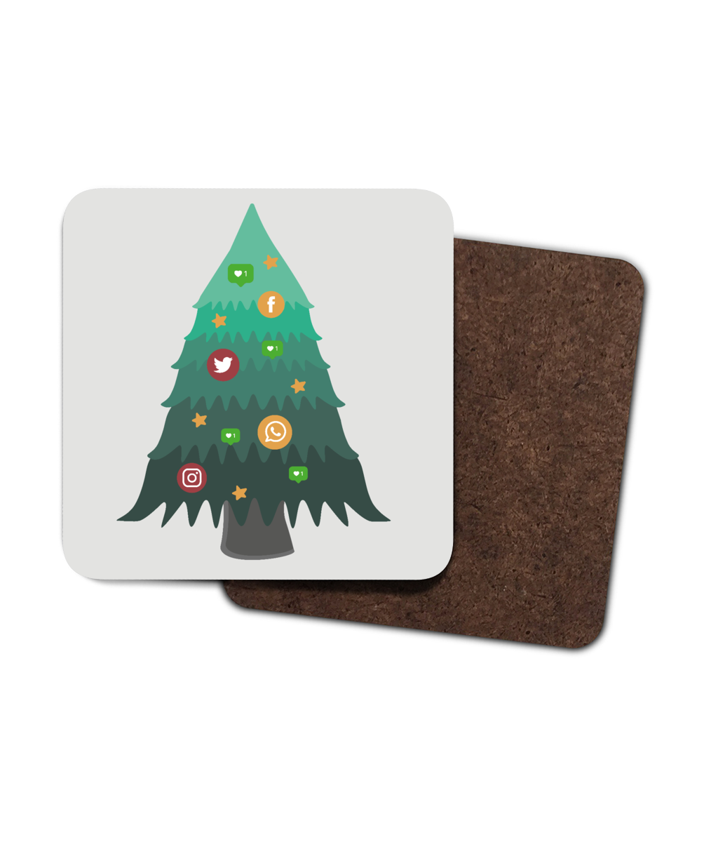 4 Pack Hardboard Coaster Social Christmas Tree Range